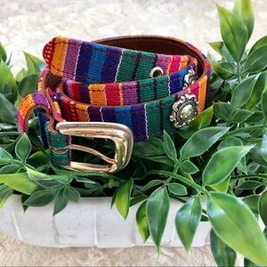 Fossil Spanish colorful fabric leather belt large